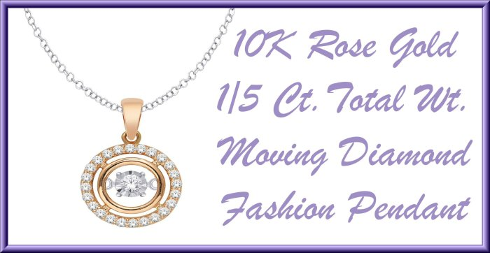 Last Minute Gift Ideas + $300 Mother's Day MyGiftStop Giveaway - 10K Rose Gold .2 Ct.Tw. Moving Diamond Fashion Pendant