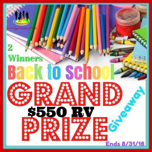 Two share $550 in prizes when this Back To School Grand Prize Giveaway ends 8/31 #BTS