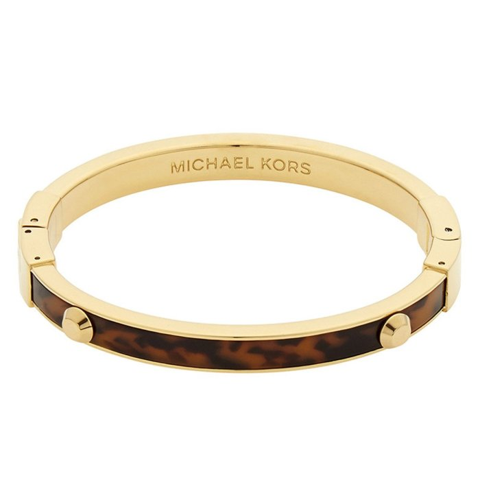 Michael Kors Women's Bangle Bracelet - Astor Yellow Gold Steel & Tortoise Acetate
