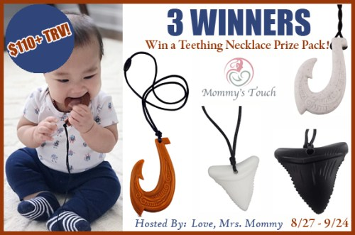 Three #win silicone necklaces from Mommy's Touch when this #Giveaway ends 9/24! 3 Winners ~ $110 TRV! #Baby #Win #Winit #Winning #Sweeps #Sweepstake #Sweepstakes #Contest #ContestAlert #Competition #GiveawayAlert #Prize