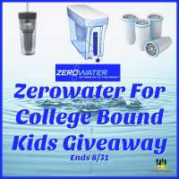 This Zerowater For College Bound Kids Giveaway for a 30 Cup Ready-Pour Dispenser, 4-Pack Replacement Filter Cartridges, and 2 Silver On-The-Go Filtered Tumblers ends 8/31.