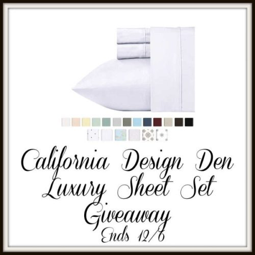 One lucky reader will #win a Luxury Sheet Set from California Desingn Den to put on their bed when this #Holiday #Gift Guide #Giveaway ends 12/6.. #SMGN #GiftGuide #Win #Winit #Sweeps #ContestAlert #GiveawayAlert #Prize #Christmas