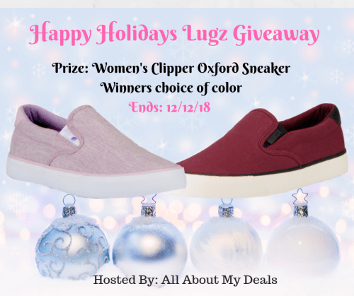You can #win a pair of Woman's Lugz Clipper Oxford Sneakers in your choice of color when this Happy Holidays Lugz #Giveaway ends 12/12! #SMGN #GiftGuide #Winit #Sweeps #ContestAlert #GiveawayAlert #Prize #Free #Gift #Holiday #Christmas