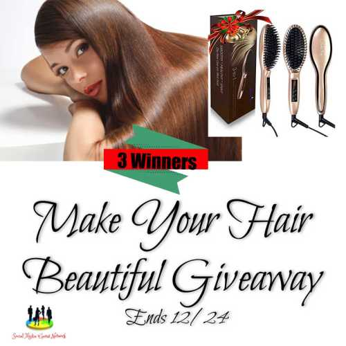 3 Win a Hair Straightening Brush Holiday when the Make Your Hair Beautiful Giveaway ends 12/24. #SMGN #GiftGuide #Winit #Sweeps #ContestAlert #GiveawayAlert #Prize #Free #Gift #Christmas