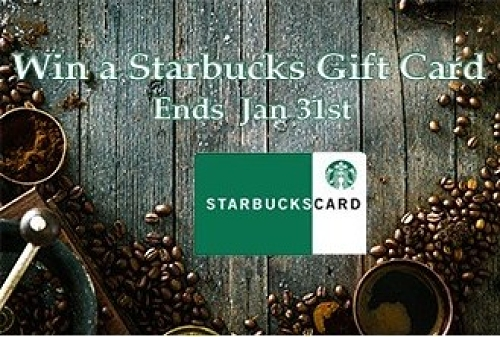 Enter for a chance to be one of two who will win a Starbucks gift card and will be able to grab some Coffee for FREE when this giveaway ends 1/31.