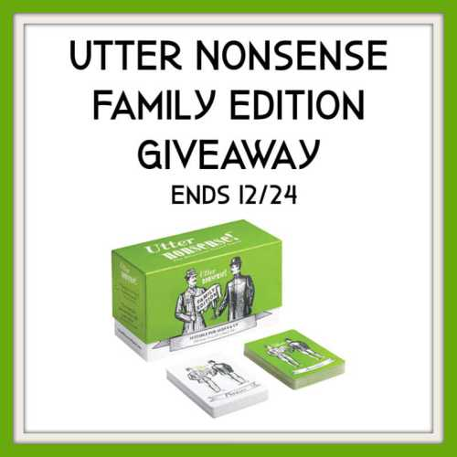 You can win the Hilarious Accent Game, Utter Nonsense Family Edition when this giveaway ends 12/24 #SMGN #GiftGuide #Win #Winit #Sweeps #ContestAlert #Giveaway #GiveawayAlert #Prize #Free #Gift #Holiday #Christmas