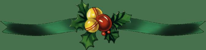 Green Ribbon Christmas Bells and Holly Ribbon
