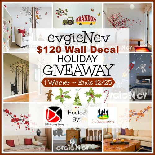 One winner will receive a wall decal from evgieNev valued at $120 when this Holiday Giveaway Ends 12/25. #Winit #Giveaway #Prize #Free #Gift #SMGN #Holiday #GiftGuide