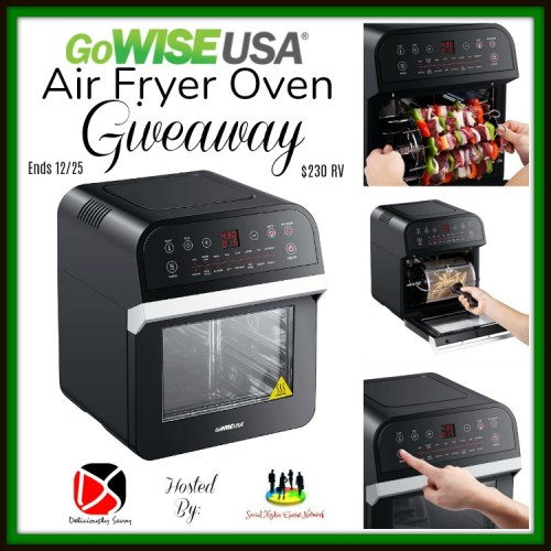 Enter to win a GoWISE USA Air Fryer Oven worth $230 RV before this Holiday Giveaway Ends 12/25. #Winit #Giveaway #Prize #Free #Gift #SMGN #Holiday #GiftGuide