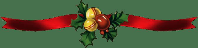Red Ribbon Bells and Holly Christmas Divider