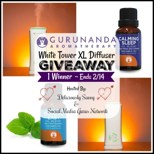 Valentine's Day #Gift Guide #Giveaway for a GuruNanda #Aromatherapy White Tower XL Diffuser and 2 Bottles Of Essential Oils ends 2/14 #Win #Prize #Winit #WinningWednesday #WinItWednesday #GiveawayAlert #GiftGuide #ValentinesDay