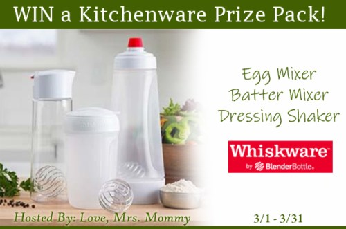 Winner of this Whiskware Kitchenware Prize Pack #Giveaway will receive a prize pack including an Egg Mixer, Batter Mixer and Dressing Shaker! Will you #Winit when this #contest ends 3/31?