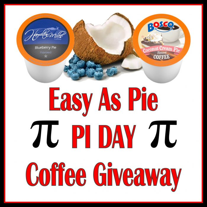 Easy As Pie #PIDAY Coffee #Giveaway - TWO lucky readers will #win a PIE FLAVORED COFFEE! Each winner will receive a 40 Count Box of either Hamilton Mills Blueberry Pie Flavored Coffee or Bosco Coconut Cream #Pie Flavored #Coffee.
