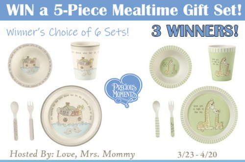 Thanks to Precious Moments three winners will receive their choice of a five piece mealtime gift set when this giveaway ends!