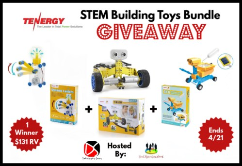 One lucky reader will #win this 💐Spring/🐣Easter Gift Guide #Giveaway for a Tenergy STEM Building Toys Bundle when it ends 4/21. #Spring #Easter #Toys #Winit #Contest