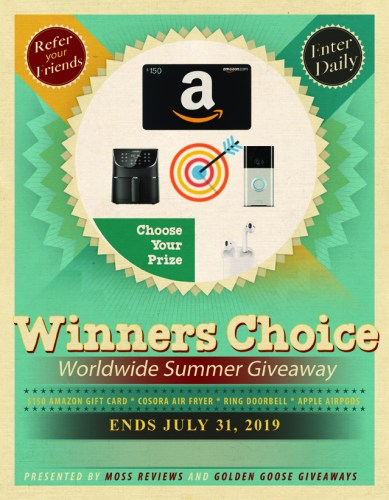 One lucky winner will receive their choice of a Apple #AirPods, #Ring Doorbell, Cosora XL Air Fryer, or $150 USD #Amazon Gift Card when this Winner's Choice #Worldwide Summer Giveaway ends July 31st! #Win #Winit #AirFryer #Cooking #Contest #Giveaway #Sweepstakes