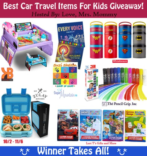 Enter and you could #Win a huge prize pack with 12 Best Kids Car Travel Items when this #Giveaway ends 11/6!