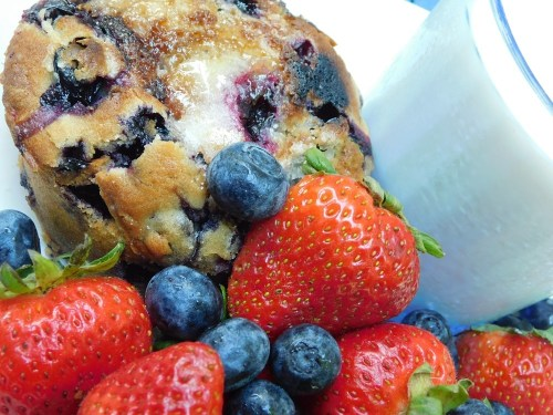 Red, White, and Blue Breakfast - Milk, Jordan Marsh Blueberry Muffin, Blueberries, Strawberries, and a cup of Crave Blueberry Flavored Coffee. #RedWhiteBlue #July4th #IndependenceDay #USA