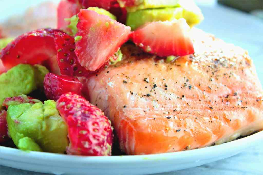 Pan Seared Salmon with Strawberry Avocado Salsa - Sweet Tea & Thyme
