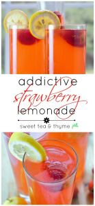 Addictive Strawberry Lemonade - Easy homemade strawberry lemonade that tastes so refreshing, with fresh lemons and a pure strawberry syrup, it's truly addictive. www.sweetteaandthyme.com