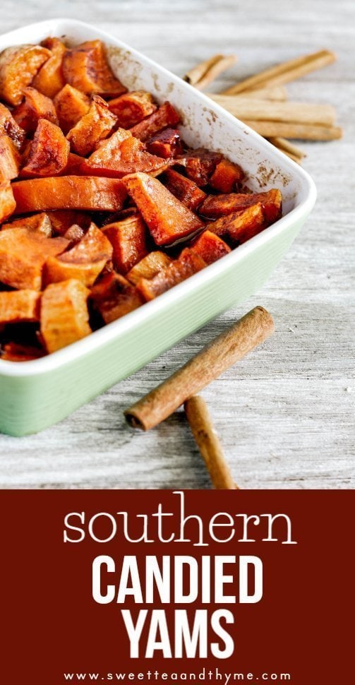Candied yams are a classic Southern side dish! Sweet potatoes are chopped up and sugared down, then put into the oven to become tender, caramelized, and oh, so wonderful.