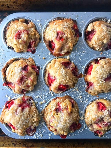 Strawberry Coffee Cake Muffins with Lemon Icing