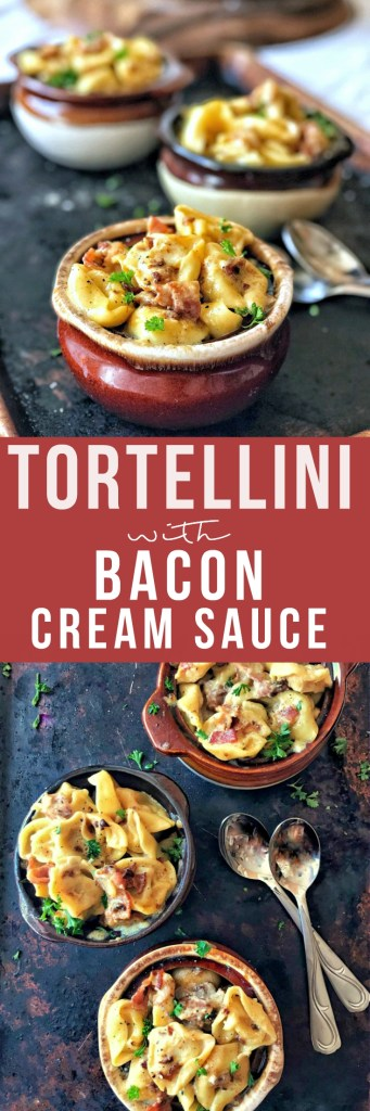 Tortellini is coated in a rich, carbonara-inspired cream sauce flavored with salty parmesan cheese, garlic, and smoky bacon. Dinner in under 20 minutes? You can bet on it!