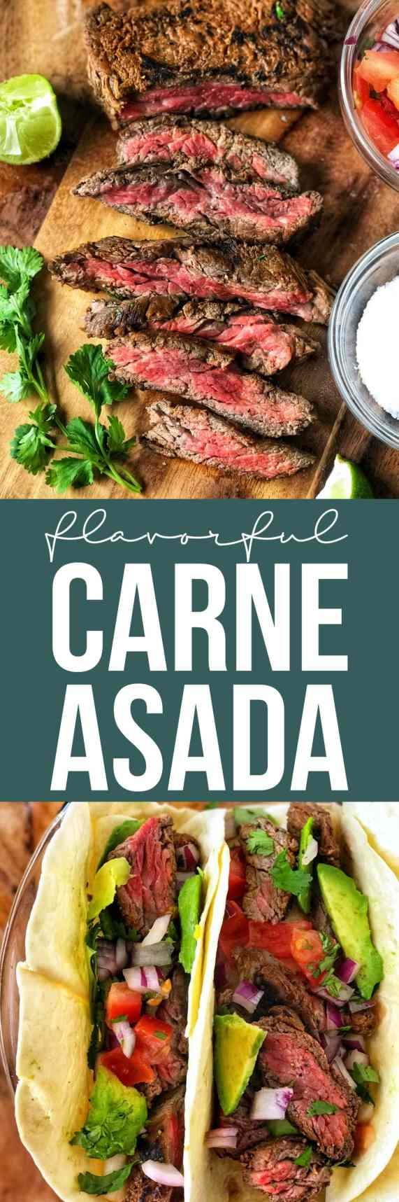 Carne Asada packs a punch with a marinade full of bright citrus, fresh chilies, and garlic. This marinade not only gives the skirt steak a powerful flavor, but makes it buttery and tender! Great for Taco Tuesday!