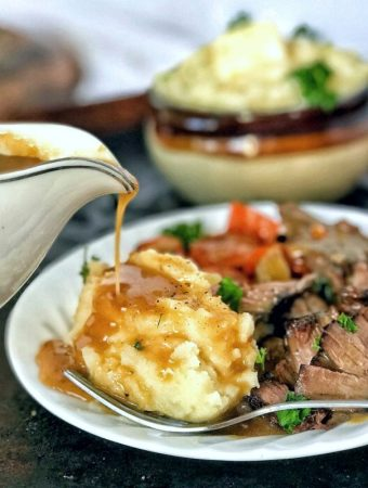 Pan drippings gravy is easy and amazingly flavorful, thanks to using the tasty bits from roasting a piece of meat. Strain your veggies and the rest is easy.