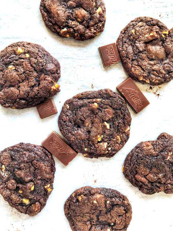 Double Chocolate Andes Mint Cookies, with both minty Andes candy bits and chocolate chips baked into a soft, chocolate cookie, are perfect for the holidays!