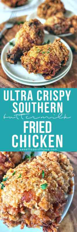 Traditional, authentic, deep-fried buttermilk-brined southern fried chicken by a true Southern Belle! Learn the secrets to the juiciest meat, the crunchiest crust, and most flavorful fried chicken you've ever had.