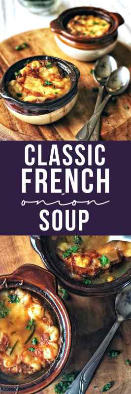 Easy, classic French onion soup is a dish that is greater than the sum of it's parts. A rich and hearty soup with a velvety texture, covered in a crispy baguette and melty Gruyere cheese.
