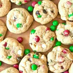 Thick, chewy, and perfect for Santa! These M&M's Christmas cookies are mixed with both semi-sweet and white chocolate chips, giving this holiday classic a boost.