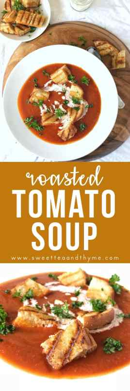 Roasted tomato soup with grilled cheese croutons: a simple, flavorful, and incredibly delicious spin on classic tomato soup and grilled cheese!