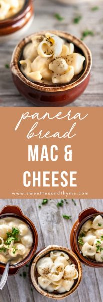 Creamy, rich, super cheesy and flavorful white cheddar mac and cheese just like Panera Bread's popular side dish! This dish is from-scratch and made in less than 20 minutes. Get the recipe at Sweet Tea & Thyme!
