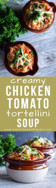 This rich and comforting creamy chicken tomato tortellini soup is full of hearty goodness. Cheese tortellini and shredded chicken are coated in a tomato-cream sauce full of herbs and fresh parmesan cheese!