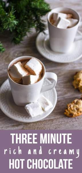 Whether it's a hot chocolate craving, a sudden holiday guest, or your family wants a cup right now, this satisfying, creamy hot chocolate recipe is ready in three, yes three, minutes.