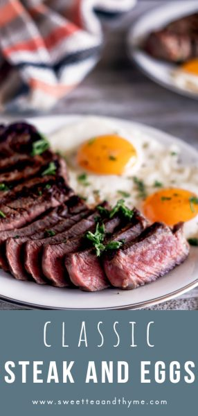 This classic Steak and Eggs at home is such a quick, easy, and hearty brunch meal or breakfast-for-dinner dish using New York strip steaks and sunny side up eggs.