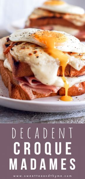 Croque Madames are comforting, decadent, over the top brunch sandwiches with a creamy gruyere cheese sauce and sunny side up eggs!