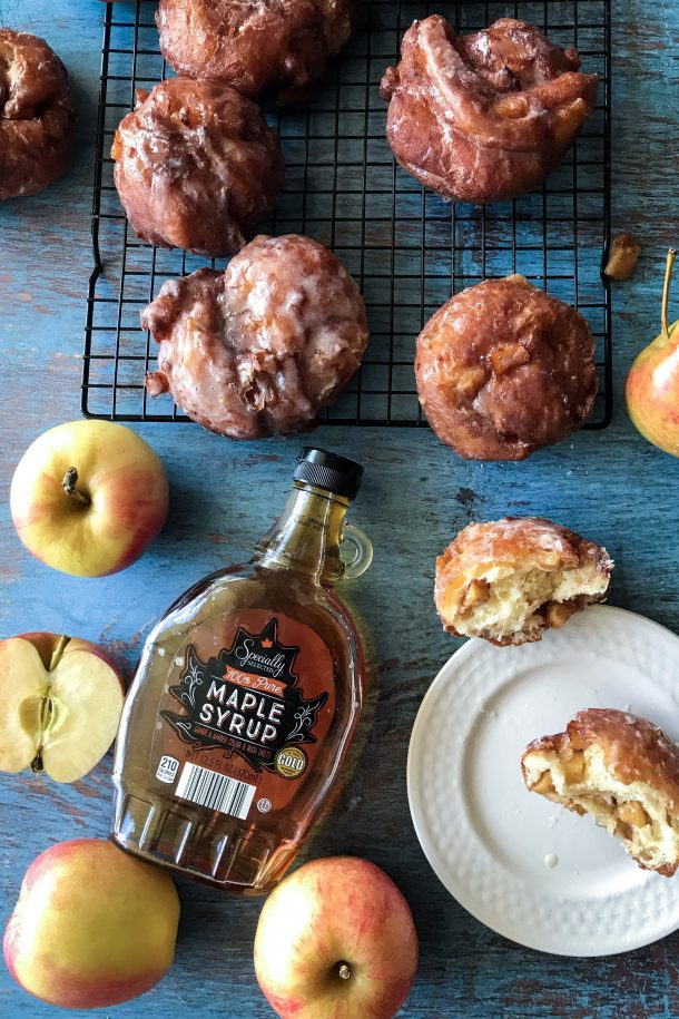 Crisp on the outside, light and fluffy on the inside, and studded with spiced, brown butter apples, these apple fritter donuts are even better than the ones at the bakery!