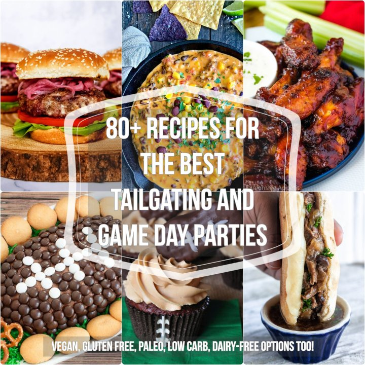 Check out over 80 awesome game day recipes! From easy finger foods like crispy calamari, tons of diet-friendly foods, carnitas tacos, and amazing football-themed desserts and dips, you'll find exactly what you need to make your game day party the best one ever!