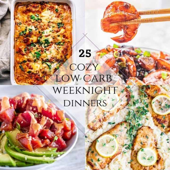 Dinner time after New Year's may mean trying to stay on your new diet. These 25 easy, family-friendly, low-carb recipes will help you stick to the diet, without having to make a separate dinner for the rest of the family! From creamy stuffed chicken recipes, low carb lasagna, fresh tuna poké bowls, and more, you'll be able to stay on diet and feed the kids!