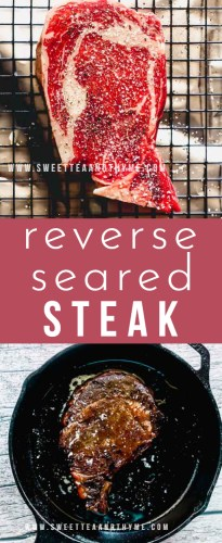 Reverse seared steak is consistently juicy, perfectly cooked, and gains a stunningly beautiful sear after a quick stint in a hot skillet. Once you reverse sear a steak, it'll change everything you thought you knew about cooking steak forever.