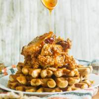 Southern Fried Chicken and Waffles with Spicy Honey Butter Sauce