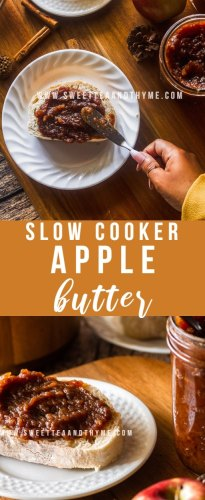 This easy apple butter recipe is made in the slow cooker! This thick autumn spiced spread is fantastic on your morning toast, smoothed over a warm slice of pumpkin bread, or eaten off a spoon.