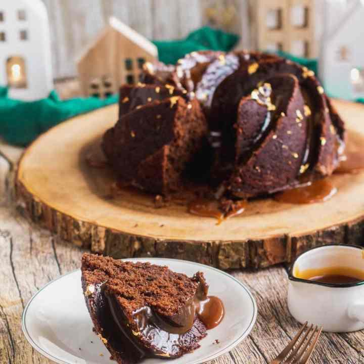 Chocolate Mayonnaise Cake with Salted Caramel