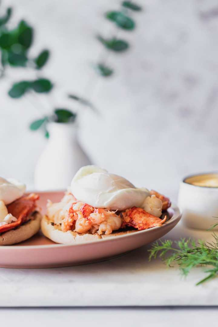lobster benedict on a plate with hollandaise to the side showing the lobsster and poached egg