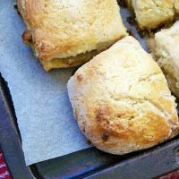 Roasted Rhubarb and White Chocolate Scones
