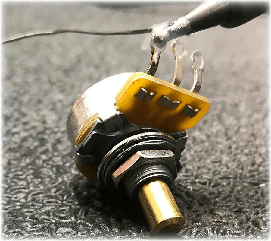 wiring diagram for les paul style guitar 98 grand cherokee radio how to upgrade your pots sweetwater tinning the lug of a potentiometer
