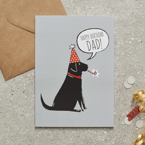 Black Labrador Happy Birthday Dad Card 275 Mischievous